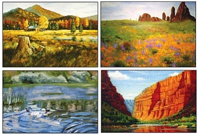 "Courtesy photos<br>Clockwise are ""Alpine Hideaway"" by Phyllis Sullins McKenzie, ""Flowers in the Superstitions"" by Jan Rooney, ""Granite Basin Reflections"" by Cathy Gibbons, and ""Green River Canyon"" by Mei- June Liao."