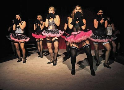 "Matt Hinshaw/The Daily Courier<br>Burlesque dancers perform one of many routines in last season's Prescott Center for the Arts production of ""Cabaret."""
