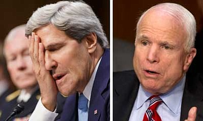 The Associated Press<br> Secretary of State John Kerry and Sen. John McCain, R-Ariz., testify Tuesday concerning the crisis with Syria.