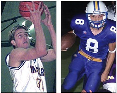 Courier file photos<br>In addition to track & field, Josh Stephan (left) was a standout basketball player, showing his skills during a Jan. 13, 1999, game against Washington. Chris Parker, shown in a Sept. 26, 2003, game against Payson, was one of the great  quarterbacks in school history.