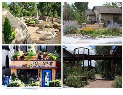 Courtesy photo<br> The Alta Vista Garden Club recognized several businesses for their extraordinary landscaping. They are, clockwise from top left, the Yavapai College Sculpture Garden, Gene Allen Dentistry, Prescott College and El Gato Azul Restaurant.