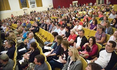 Les Stukenberg/The Daily Courier<br>School employees and community members pack a public meeting at Prescott Mile High Middle School to learn about the upcoming bond election for Prescott, Humboldt and Chino Valley school districts.