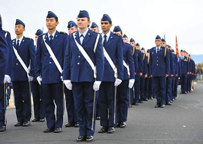 Les Stukenberg/The Daily Courier<br> The Embry Riddle Aeronautical University Air Force ROTC marches during the 2011 Veterans Day Parade. This year, the parade moves from the VA Medical Center to downtown Prescott,