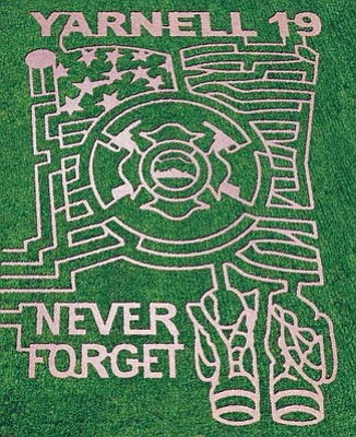 Courtesy photo<br>Mortimer Family Farms honors the Granite Mountain Hotshots with its corn maze.