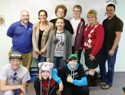 Courtesy photo<br> Launch Pad teen and adult advisory board members are, top row from left, Charles Matheus, Courtney Osterfelt, Victoria Reckmeyer, Ben Jensen, Ethan Sajko, Tina Blake, and Michael Yarnes. Bottom row fromleft, Ty Alanis, (visitor), and Ashley Brown.