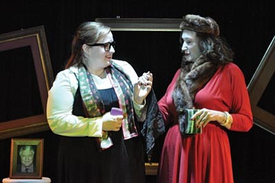 """David Cottle/Courtesy photo<br>Jean (Amber Bosworth) and Mrs. Gottlieb (Mary Timpany) are characters of great contrast in """"Dead Man's Cell Phone,"""" a dark comedy opening Thursday at Stage Too."""