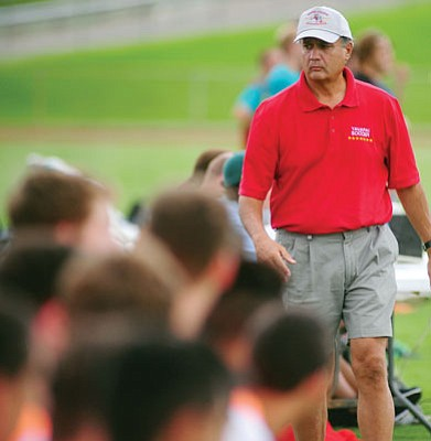 Les Stukenberg/The Daily Courier<br>Yavapai head coach Mike Pantalione, seen during a home game Sept. 2, 2013, in Prescott Valley, has never missed one of the 601 games in the history of the Yavapai program.