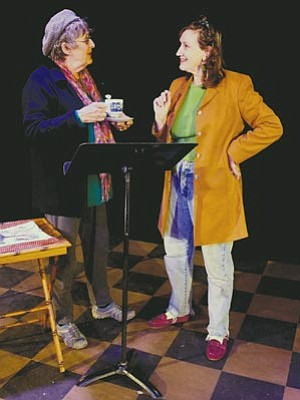 """Courtesy photo<br>Director Mary Timpany, right, discusses some staging points with actor Shari Graham, who plays beleaguered wife Helen in the adult comedy """"Shtick,"""" which opens tonight at Prescott Center for the Arts Stage Too."""