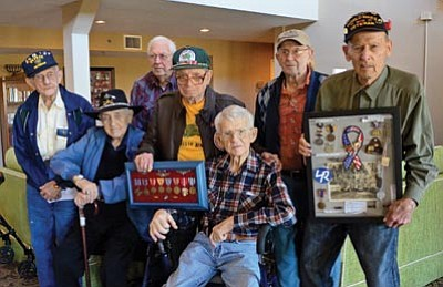 Karen Despain/The Daily Courier<br>Jack Chasteen, Bruce Bodemann, Gerald Chadderdon, Harry Brenner, Sam Mazzara, Bill Kurtzman and Ben Waldo shared stories Friday about their recollections of the attack on Pearl Harbor and their service in World War II.