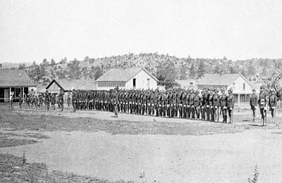 Sharlot Hall Museum/Courtesy photo<br>Sunday morning inspection at Fort Whipple, circa. 1878.