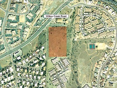 City of Prescott/Courtesy map<br>The map above shows the location of a proposed 160-unit apartment complex along Willow Creek Road near Montana Drive.