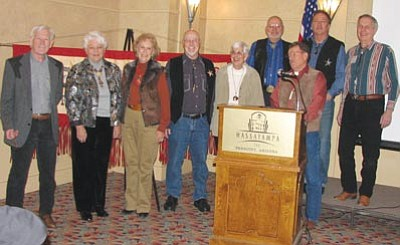 Courtesy photo<br>The 2014 Prescott Corral of Westerners' Posse includes, left to right, Fred Veil, Barb Inman, Dana Sharp, Tom Collins,  Donna Sherwin, Russ Sherwin, Bob Galloway, Brad Courtney and Jack Hoeft.