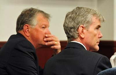 Les Stukenberg/The Daily Courier, file<br>Defense attorney John Sears and defendant Steven DeMocker listen during pretrial hearings and motions in the Carole Kennedy murder trial April 7, 2010. Sears quit the case in October 2010, triggering a mistrial.