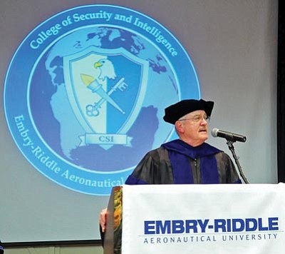 Matt Hinshaw/The Daily Courier<br>Dr. Philip Jones speaks about national security after being announced as the first dean for Embry-Riddle Aeronautical University's new College of Security and Intelligence.