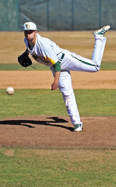 Matt Hinshaw/The Daily Courier<br>Yavapai's Stephen Carbajal fires a pitch toward home plate Wednesday afternoon during the Roughriders' 2014 home opener against Salt Lake in Prescott.