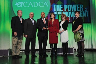 Courtesy photo<br>MATForce was named Coalition of the Year by the Community Anti-Drug Coalitions of America in Washington D.C. From left to right are Dr. Leon Cattolico; Cottonwood City Manager Doug Bartosh; CADCA Chairman and CEO General Arthur T. Dean; Yavapai County Attorney Sheila Polk; MATForce Executive Director Merilee Fowler and MATForce Grant Manager Lori Deutsch.