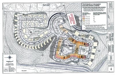 Courtesy illustration<br>The site plan for the Touchmark at the Ranch project shows the proposed layout of the buildings on the 44-acre parcel near Highway 69 and Lee Boulevard.