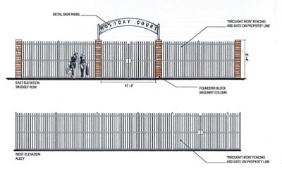 Courtesy illustration<br> Howard and Nancy Hinson, owners of downtown Prescott lots burned in the May 2012 Whiskey Row fire, want to construct a wrought-iron fence, landscaping, and a concrete walkway in the space.