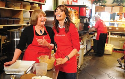 Les Stukenberg/The Daily Courier<br>  Robin Sewell and Kathi Gaspar share a laugh as Arizona Highways Television stops in at the Treat Center on Whiskey Row Monday morning.