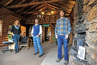Matt Hinshaw/The Daily Courier<br>Prescott Creeks Outreach & Communications Director Ann-Marie Benz, Executive Director Michael Byrd, and Conservation Coordinator Franklin Dekker pose inside the main room of their new office on Highway 89 Thursday afternoon in Prescott.