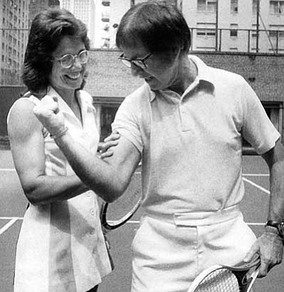 "The Associated Press, file photo<br> Bobby Riggs, just prior to his ""battle of the sexes"" match with Billie Jean King on Sept. 20, 1973, played up the role of male chauvinistic pig. King, and women everywhere basked in King's 6-4, 6-3, 6-3 victory."