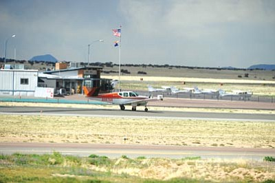 "Les Stukenberg/The Daily Courier<br>Prescott's airport terminal ""was built in 1947, and it looks like it was built in 1947,"" city councilman Chris Kuknyo remarked."