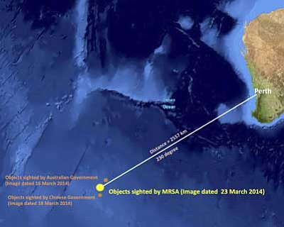 Malaysian Remote Sensing Agency/The AP<br> This graphic released by the Malaysian Remote Sensing Agency on March 26 shows the approximate position of objects seen floating in the southern Indian Ocean in the search zone for the Malaysia Airlines flight that went missing March 8.
