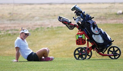 Les Stukenberg/The Daily Courier<br> ERAU's Sarah Nishide chills out,  March 10 at Antelope Hills. The Eagles women's team this past Friday cracked the NAIA coaches' poll with a national ranking of No. 20.