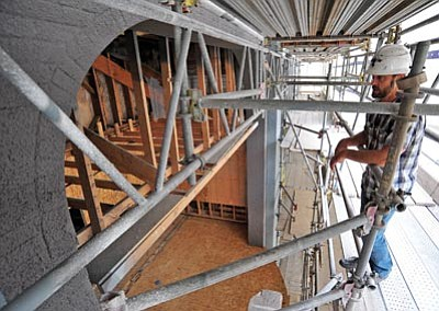Matt Hinshaw/The Daily Courier<br>Haley Construction Co. Project Manager Allan Crary talks about the renovations of the second and third floor the Elks Opera House in downtown Prescott.