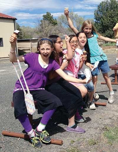 Courtesy photo<br> Fourth-grade students at Mountain Oak Charter School in Prescott celebrate the news that their Waldorf-inspired charter school received a new 20-year charter from the Arizona State Board for Charter Schools.    C