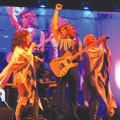 """Courtesy photo<br>Chelsea Faulds, Nick Davies and Anne Davies portray ABBA performers Anni-Frid Lyngstad, Benny Anderson and Agnetha Faltskog. Their """"ABBA Fab"""" tribute concert plays Saturday at the Elks Theatre and Performing Arts Center."""