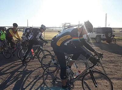 Minnie and Craig Swetel/Courtesy photo<br>Riders brace for the Chino Grinder pre-ride on March 16.