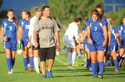 Les Stukenberg, file/The Daily Courier<br> Head coach Todd Poitras, seen back on Sept. 4, 2013, in Prescott, has signed six players to letters of intent to play for the ERAU Eagles in 2014-15.