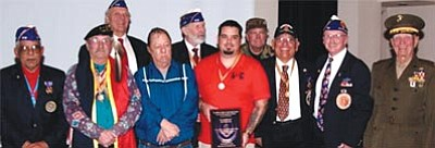 From left, front row, are: Alfonso Santillan, Larry Kimmel, Ed Albert, Kyle McNamara, Frank Rodriguez, Billy Weldon and Col. Fred Cone. Back row are: Alfred Battista, Mike Brody and Phil Chavis.