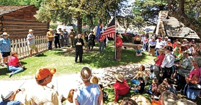 Matt Hinshaw/The Daily Courier<br> Fred Veil, interim director of the Sharlot Hall Museum, portrays Dr. John Alsop and reads a resolution about selling the first lots in Prescott during the city's sesquicentennial celebration Saturday afternoon.