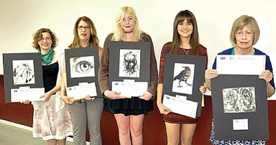 Courtesy photo<br>The Mountain Artists Guild scholarship recipients are Lauren Stock, Linda Erickson (accepting for Jessica Erickson), Kyli Skinner, Devon Cleland and Joanna Franks.
