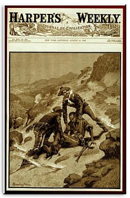 John P. Langellier, Ph.D./Courtesy photo<br>In 1886, Fredric Remington's front-page illustration for Harper's Weekly Magazine captured the dramatic, heroic rescue of Corporal Edward Scott, and began to gain fame for the artist and the Buffalo Soldiers he depicted.
