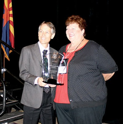 Courtesy photo<br> Chief Justice Scott Bales presents Judge of the Year Award to Anna Mary Glaab, Justice of the Peace for Bagdad and Yarnell Precincts, Yavapai County.