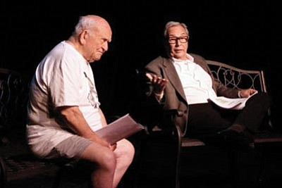 "Courtesy photo<br>Ed Asner and Mark Rydell perform a reading of the comedic play ""Oxymoron."" The curtain goes up 7:30 p.m. Thursday at the Yavapai College Performing Arts Center."