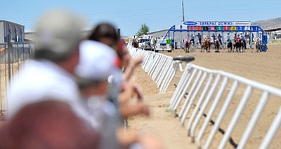 Matt Hinshaw/The Daily Courier<br>Spectators watch as the gates fly open for the first race of the season back on May 29, 2010, at the Yavapai Downs race track in Prescott Valley.