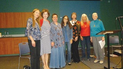 Courtesy photo<br>The Mad Women Poets – Susan McElheran, Connie Johnson, Sharon Seymour, Carole Bolinski, Elle Hughes, Annette Schober and Mary Bragg – will read Sunday at Universal Unitarian Fellowship.
