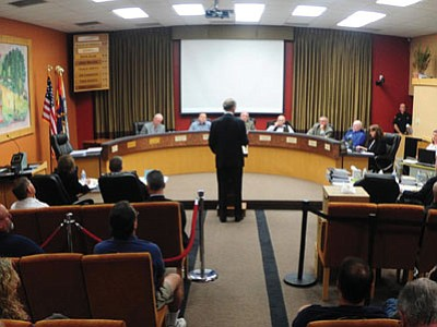 More than 50 people attended the Public Safety Retirement System hearing for Hotshot Andrew Ashcraft at Prescott City Hall May 21. (Les Stukenberg/The Daily Courier)