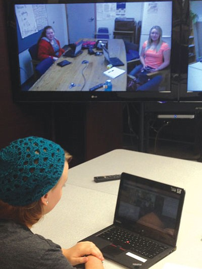 Courtesy photo<br> Students take part in a video-conferencing session.