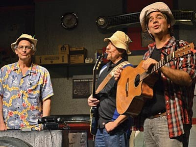 """David Solomon, Mark Echard and Chad Calhoun star in """"Pump Boys and Dinettes,"""" now playing at the Prescott Center for the Arts. (Karen Despain/The Daily Courier)"""