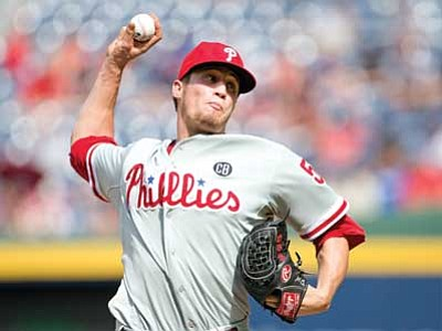 John Bazemore/The Associated Press<br> Philadelphia Phillies relief pitcher Ken Giles, who played at Yavapai College in 2011, works in the eighth inning against the Atlanta Braves on Monday. Giles combined with starting pitcher Cole Hamels, and relief pitchers Jonathan Papelbon and Jake Diekman for a no hitter.