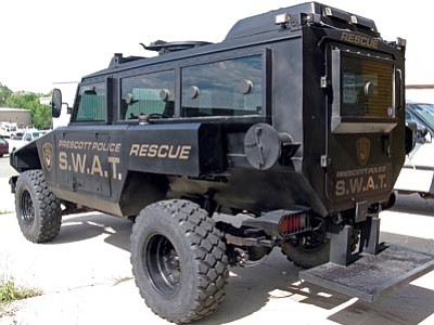 A Mamba armored truck intended for battlefield use now belongs to the Prescott Police Department, which is using it as a SWAT rescue vehicle. (Courtesy photo)
