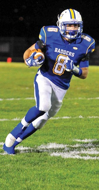 Matt Hinshaw/The Daily Courier<br>Prescott's Skylor Clinton was a hard runner to catch Friday night at Bill Shepard Field, where he rushed for 172 yards all in the first half.
