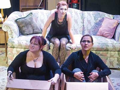 """Amber Bosworth, Allie Kate Elliot and Julie Chavez Harrington perform in the production of """"Seatbelts Required"""" at the Prescott Center for the Arts Stage Too theater. (Les Stukenberg/The Daily Courier)"""