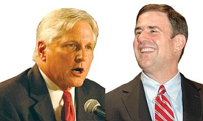 Fred DuVal (left) and Doug Ducey