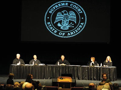 The Arizona Supreme Court hears oral arguments at the Yavapai College Performance Hall on Tuesday morning in Prescott. (Les Stukenberg/The Daily Courier)